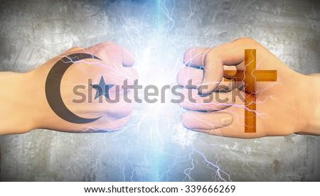 Clash of religion - stock photo