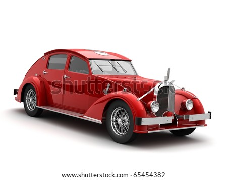 clasic car 3d rendering - stock photo