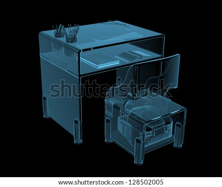 Class desk (3D x-ray blue transparent isolated on black) - stock photo