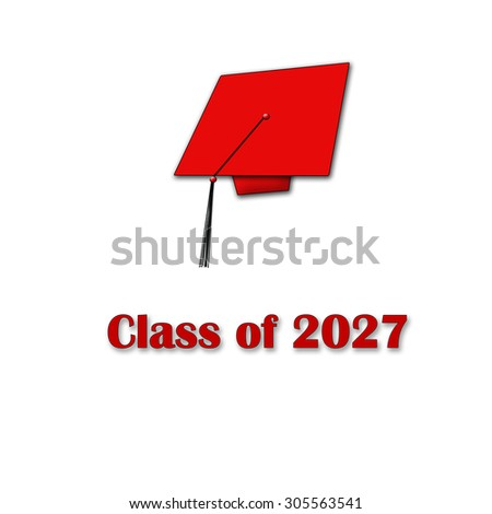 Class of 2027 Red on White Single Large