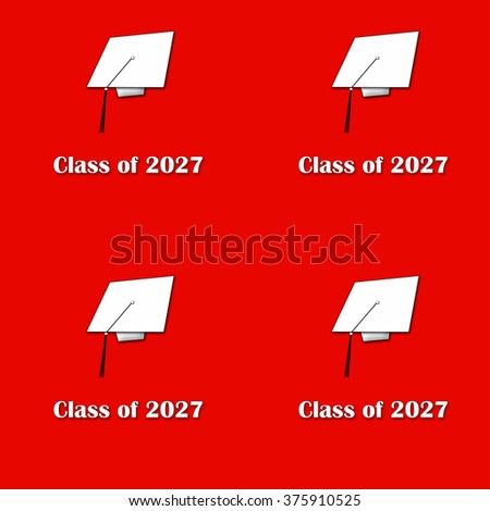 Class of 2027 White on Red Pattern Large