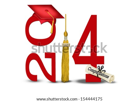 class of 2014 with diploma, gold tassel and red hat - stock photo
