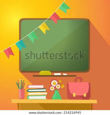 Class room banner with green desk, school supplies and colorful bunting garlands,  illustration in flat design - stock photo