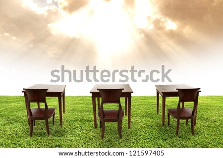 Class room student and beautiful sky, Class outdoor - stock photo