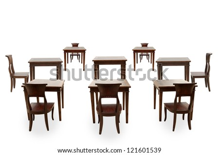 Class room student on white background - stock photo