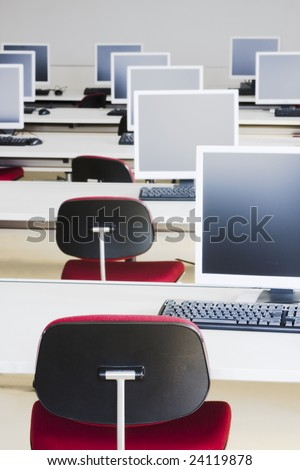 Class room with computers in a training center - stock photo