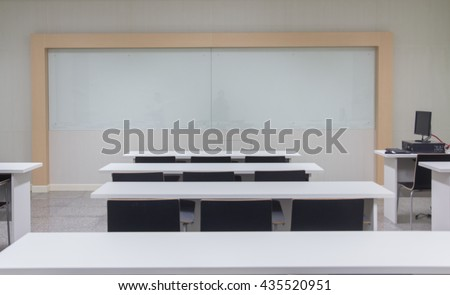 Class room with white board