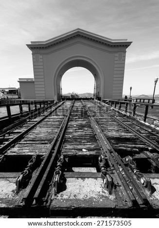 Classic abandoned Pier in San Francisco Bay - stock photo