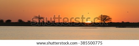Classic African sunset with huge burning sun over Acacia trees and water in Botswana, Africa - stock photo