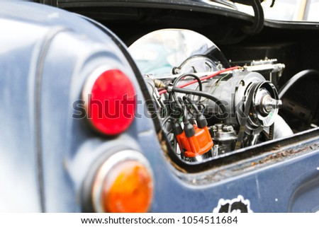 Classic Aircooled Car Engine Compartment Engine Stock Photo ...