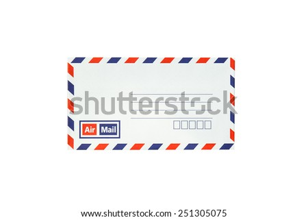 classic air mail envelope isolated on white background - stock photo