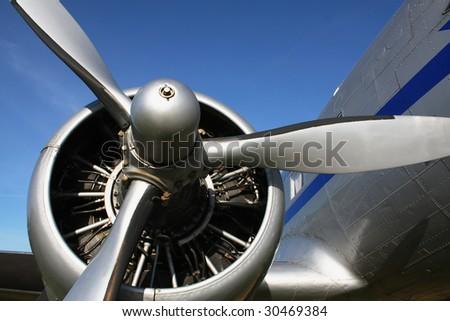 classic airplane engine - stock photo