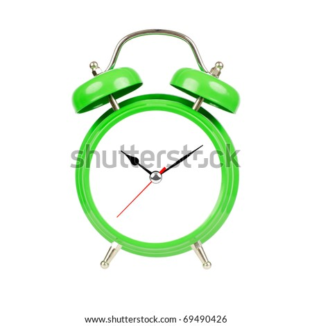 Classic alarm clock. Isolated, green on white. - stock photo