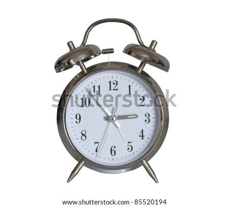 Classic alarm clock isolated on white