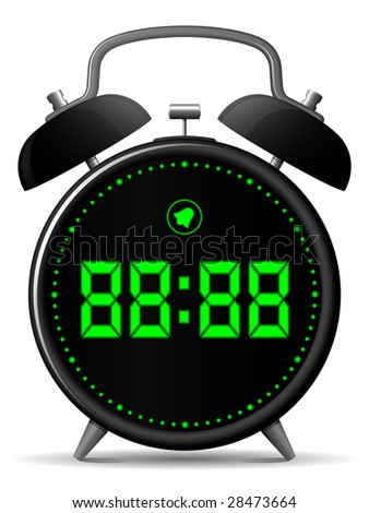 Classic alarm clock with digital display - stock photo