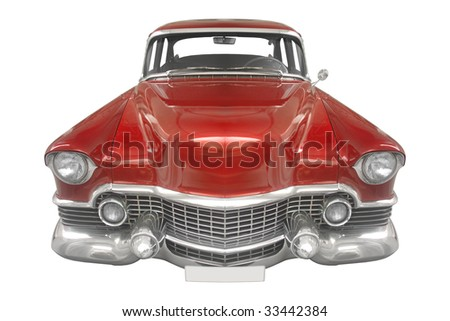 classic American car from the 50s isolated on white background - stock photo