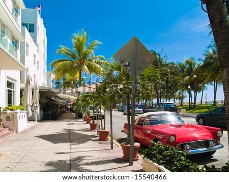 Classic American Car on South Beach, Miami. - stock photo
