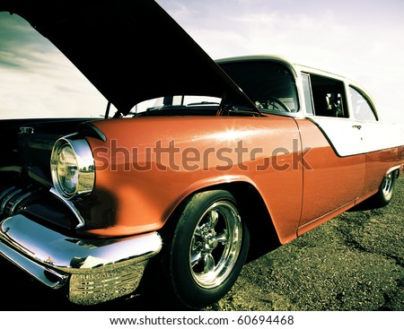Classic American car with it's hood up./Vintage Car - stock photo
