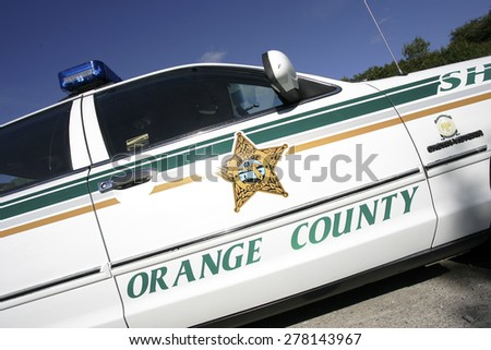 Classic american orange county police car stock photo download now classic american orange county police car at a countryside event derbyshireuk publicscrutiny Image collections