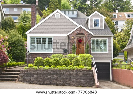 Classic American wooden clapboard house - stock photo