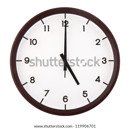 Classic analog clock pointing at 5 o'clock, isolated on white background - stock photo