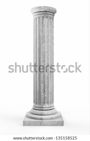 Classic Ancient Column isolated on white background - stock photo