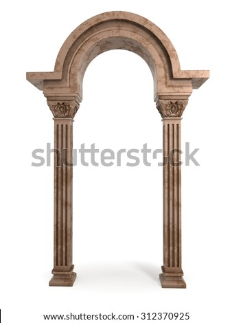 Classic Ancient Marble Arc - stock photo