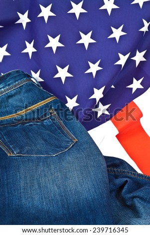 Classic and color jeans on the flag of the United States of America - stock photo