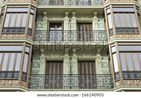 Classic and old townhouse in city street, construction - stock photo