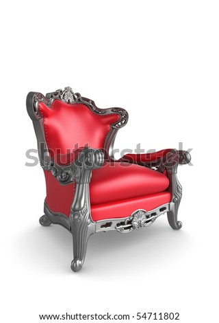 Classic antique armchair in red and silver colour - stock photo