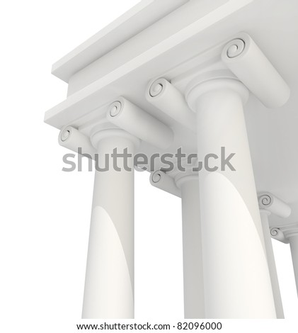 Classic Antique Building 3d background isolated - stock photo