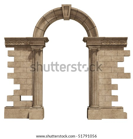 classic arch isolated on white background - stock photo