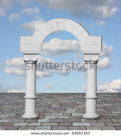 Classic arch with blue sky - stock photo