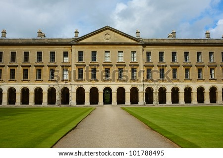 Classic architecture at Oxford Magdalen College facade - stock photo