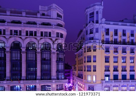 Classic Architecture in Madrid, Spain by Night - stock photo