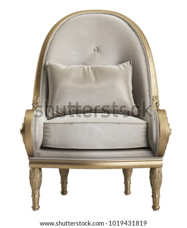 Classic armchair on white background 3d rendering