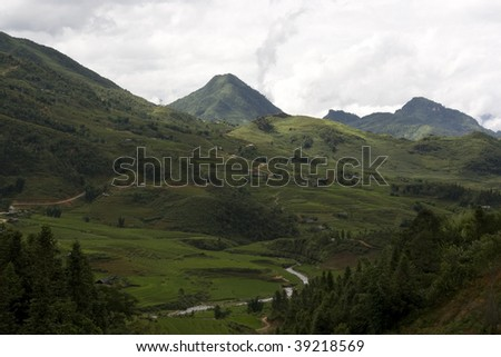 classic asian rice field in sapa, vietnam - stock photo
