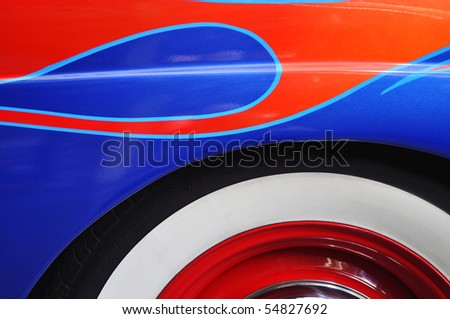 classic auto paint and tire detail - stock photo