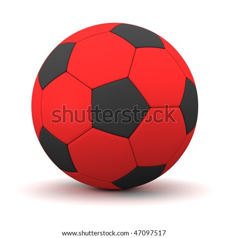 classic ball consisting of black pentagons and red hexagons