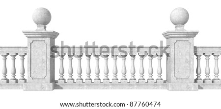 classic balustrade with pedestal isolated on white background- rendering