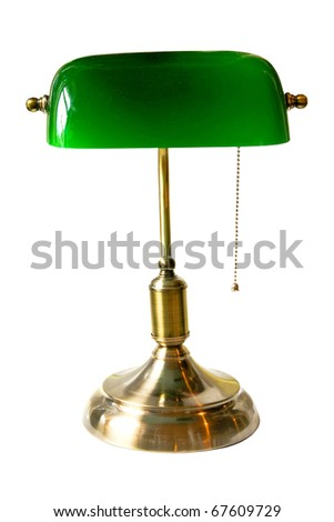 Classic bank table lamp isolated with clipping path included - stock photo