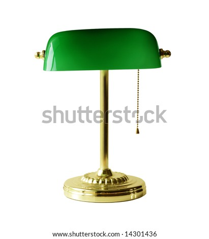 Classic banker desk lamp isolated on white - stock photo