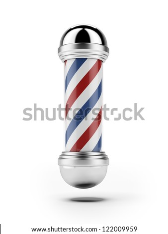 Classic Barber shop Pole isolated on a white background