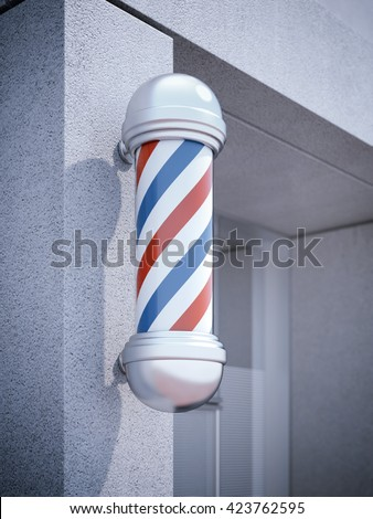 Classic Barber shop Pole on the wall. 3d rendering