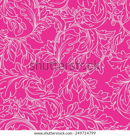 Classic baroque floral seamless pattern. - stock photo