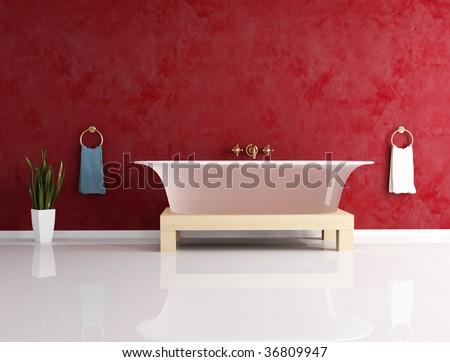 classic bathroom with fashion bathtub -rendering - stock photo