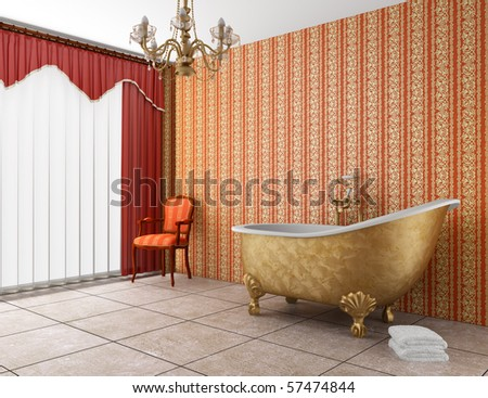 classic bathroom with old bathtub and red striped wall - stock photo