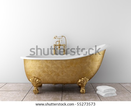 classic bathroom with old bathtub and white wall - stock photo