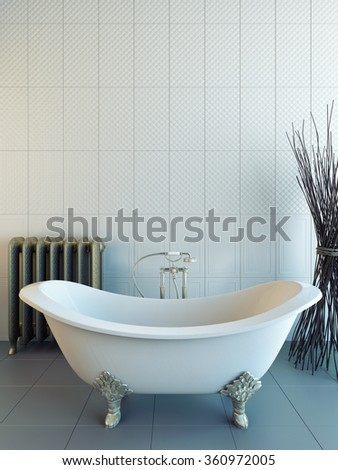 classic bathroom with white tiles 3D rendering