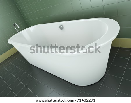 Classic bathtub in a green tile bathroom. 3D render. - stock photo